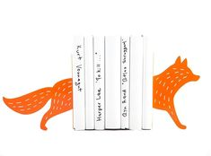 """Children's bookends Running Fox. Animal themed teen's room. Nursery decor. Holders for kid's books. Woodland dwellers. Orange fox. Unique metal bookends """"Reading Fox"""". Functional decor for modern home. Cozy Christmas gift. Super stylish fox bookends are ready to hold up your favourite classics. Perfect orange bookends for a woodland themed kid's room or teen's bookshelf. This laser cut modern, stylish fox shape is handmade and solid, ready to hold up a whole row of books on your favourite..."""