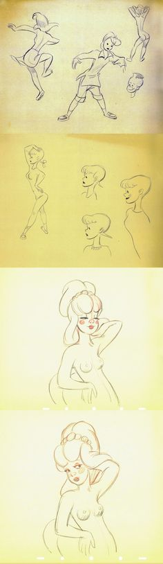 """The absolute brilliance and talent of Disney animator Fred Moore.  Here are illustrations of """"Moore's Girls"""" from 'All The Cats Join In' and 'Fantasia'."""