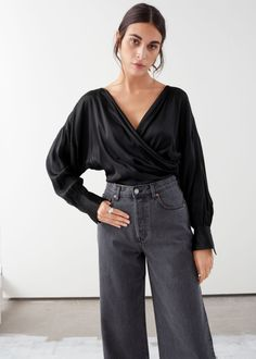 Draped Satin Wrap Blouse - Black - Wrap Tops - & Other Stories