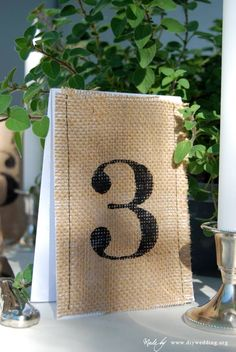 Burlap Wedding Table Numbers - a perfect DIY project!