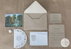 Invitation hand lettering and monogram designed by Julianna Swaney. Photographed by The Wedding Format