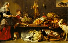 Kitchen Still Life with a Maid and Young Boy; Frans Snyders (Flemish, 1579 - 1657), with figures attributed to Jan Boeckhorst (German, about 1604 - 1668); mid-17th century; Oil on canvas; 240 × 152.4 cm (94 1/2 × 60 in.); 78.PA.207