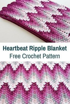 Simply Gorgeous Heartbeat Ripple Blanket [Free Pattern Simply Gorgeous Heartbeat Ripple Blanket [Free Pattern] – Knit And Crochet Daily Crochet Afgans, Crochet Baby, Knit Crochet, Crochet Cushions, Crochet Pillow, Crochet Granny, Crochet Toys, Afghan Crochet Patterns, Crochet Stitches