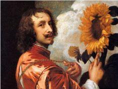 안토니 반 다이크,<해바라기가 있는 자화상>, 1632~1633. 개인소장.    - 작품해설 : 반 다이크는 1630년에 런던에 온 뒤 왕이 총애하는 화가가 되어 왕과 매우 화목하게 지냈다고 한다. 자화상 바로 옆의 해바라기는 왕에 대한 그의 충성심을 나타낸다.   - 해바라기의 상징 : 헌신,충성   - 나의 감상 : 그림속의 반 다이크가 마치 왕을 바라보며 '이 해바라기가 해만을 바라보는 것처럼 나도 당신에게 충성한다'고 말하고 있는 것 같은 느낌이 든다. 또 왼손으로는 마치 자신의 심장을 가리키고 있는 것 같아서 해바라기의 충성심과 자신의 심장(마음)을 동일하게 여기고 있는 것 같기도 하다. 풍성한 해바라기와 화가의 결연해 보이는 표정이 잘 어울린다.