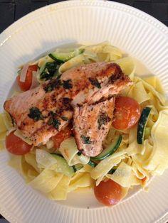 Zalm pasta uit boek Powerfood van Rens Kroes