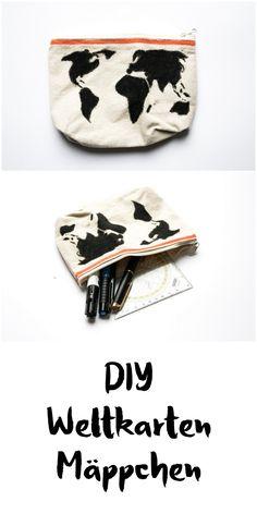 schereleimpapier: DIY Accessoire Mäppchen mit Weltkarte basteln    Geschenk    Office Organisation    Tasche    DIY handmade pencil case    crafting