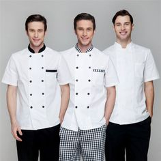Double breasted short sleeve chef jackets with two row black buttons Waiter Uniform, Men In Uniform, Kellner Uniform, Hotel Uniform, Restaurant Uniforms, Staff Uniforms, Uniform Design, Contrast Collar, Costume