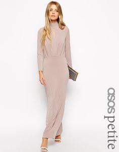 ASOS PETITE - Maxi robe en crêpe style années 70 avec encolure plongeante