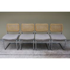 Marcel Breuer Style Cantilever Chrome & Rattan Chairs - Set of 4 - Image 3 of 11