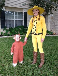 Halloween DIY costume Curious George and the Man (Woman) in the Yellow Hat. Use Rit dye to color white button up shirt, white jeans and white tie yellow. Spray paint straw hat yellow. Use permanent marker to color dots on tie. Black belt, brown boots.  Toddler child girl boy costume, mother and daughter costume, couples costume