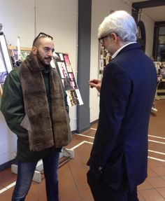 Gilbert Halaby talking to General Manager Lupo Lanzara at Accademia Costume & Moda @G Halaby