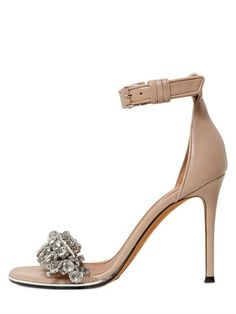 GIVENCHY - 100MM MONIA EMBELLISHED LEATHER SANDALS