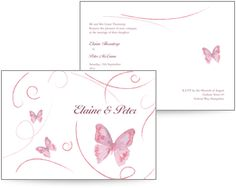 Pink butterfly wedding invite