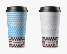 Packaging for coffee take away cups. The ingredients of each drink is illustrated on the cup to show that Shokoladnica provides quality coffee with deep knowledge of the best practice and to make each cup.