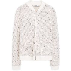 MANGO Speckled Cotton Bomber Jacket (205 BAM) ❤ liked on Polyvore featuring outerwear, jackets, bomber jacket, cotton jacket, mango jacket, long sleeve jacket and white jacket