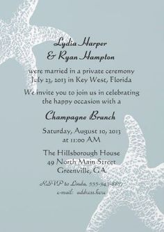 reception invitations | Reception Invitation Wording, After a Private Wedding Ceremony ...