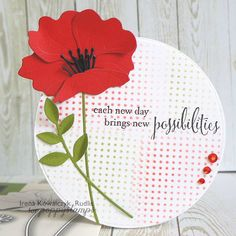 Happy Saturday everyone and welcome to the Poppystamps blog. Today I have for you a round card with a beautiful poppy seeds. To do this I used Memory Box Open Studio Circle Layers dies. Background I made with the help of stencil and distress ink. At the end I added red beads. Thanks for stopping by today! Iceland poppy Lorelai Leaf (830) Studio Circle Layers New Possibilities Dot Grid (88600) InLinkz.com