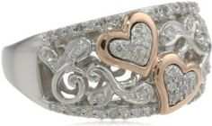 XPY Sterling Silver and 14k Pink Gold Diamond Hearts Ring (1/4 cttw, I-J Color, I2-I3 Clarity), Size 7 by Amazon Curated Collection - See more at: http://blackdiamondgemstone.com/jewelry/rings/xpy-sterling-silver-and-14k-pink-gold-diamond-hearts-ring-14-cttw-ij-color-i2i3-clarity-size-7-com/