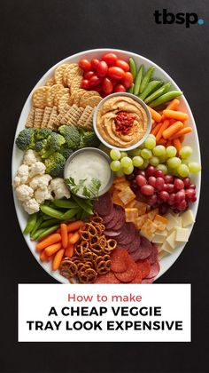 Add fruit, make an easy hummus from Progresso™ chickpeas, or simply re-plate—whatever you do, making a store-bought veggie tray look like a homemade veggie tray has never been easier. Snack Platter, Party Food Platters, Veggie Platters, Crudite Platter Ideas, Hummus Platter, Snack Trays, Party Trays, Meat Appetizers, Appetizers For Party