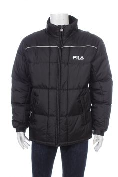 Vintage 90s Fila Puffer Big logo Spell Out puffer jacket Black Size M by VapeoVintage on Etsy