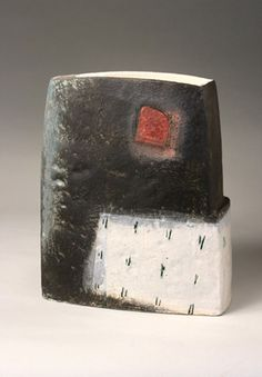 Ceramics by Craig Underhill at Studiopottery.co.uk - Produced in 2007. Black vessel, red square H23cm 07.