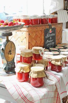 Homemade jam from home grown strawberries for the summer fete