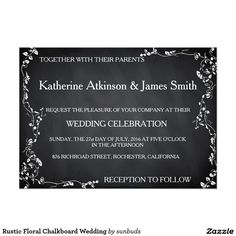 Rustic Floral Chalkboard Wedding 5x7 Paper Invitation Card