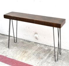"RESERVED Minimalist Console Table 48"" Salvaged Wood Industrial Factory Beam On Hairpin Legs"