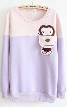 THIS IS BEYOND CUTE <3 <3 <3  Purple Long Sleeve Cartoon Monkey Loose Sweatshirt 19.00
