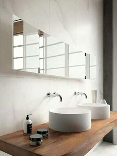 Floating wood vanity bench, double basins
