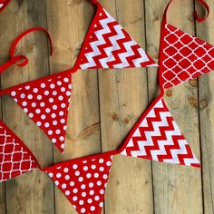 9 ft red and white fabric flag bunting, requested by a customer in Wisconsin for football season! Go Badgers ❤️