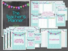 Chalkboard/Chevron 2014-2015 Teacher Planner, Weekly Planning with lots of layout options, 1-page spread or 2-page spread Monthly Calendar options, gradebook, student checklist, dates to remember, and student birthday pages. Everything you need in a teacher's planner!