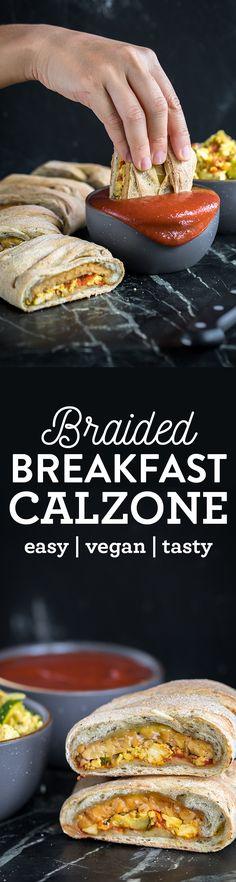 EPIC Vegan Braided Breakfast Calzone! healthy + oil-free option sweetsimplevegan.com
