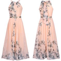 Flowy Floral Printed Crew Neck Chiffon Maxi Dress ($25) ❤ liked on Polyvore featuring dresses, flower print maxi dress, floral pattern dress, maxi length dresses, floral print chiffon dress and crew neck dress