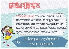 Ypokeimeno, Antikeimeno, Katigoroumeno by PrwtoKoudouni Tao, Greek Alphabet, Greek Language, English Words, Educational Activities, Speech Therapy, Kids Learning, Grammar, Classroom