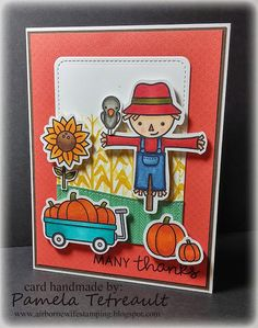"""airbornewife's stamping spot: """"MANY THANKS"""" card using Lawn Fawn's Happy Harvest"""