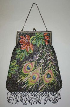 Peacock feather motif purse, 1920's, American or European, steel/glass.