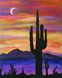 Desert Moon Cactus Painting, Cactus Art, Small Canvas Paintings, Watercolor Paintings, Desert Art, Art Prompts, Southwest Art, Painting Gallery, Pictures To Paint