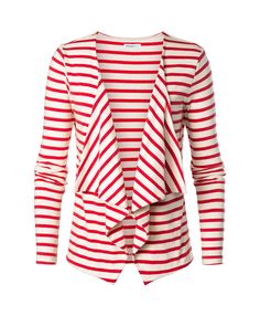 Red and White striped cardigan.  Cute for work or for 4th of July with a blue STAR shirt underneath :)