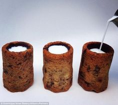 A new delicacy fills a chocolate chip cookie 'glass' with a shot of milk http://dailym.ai/1qblwPw #DailyMail