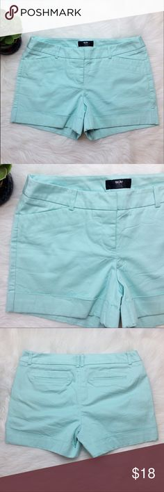 "Mossimo Turquoise Blue Shorts. Mossimo shorts in a beautiful Tiffany blue color. Size 8. 98% cotton, 2% spandex. Flat front. Waist is 16.5"". Inseam is 3.5"". Mossimo Supply Co Shorts"