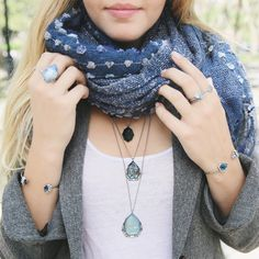 Make a Fall style statement with our Rue Royale Knit Scarf + layers of jewelry. You can never have too much + it's all on my boutique right now!