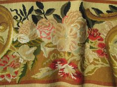 19th Century French wool work length. Design of Summer flowers.