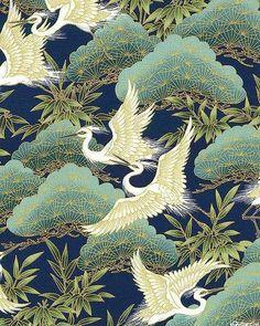 Nobu Fujiyama Serene - Crane Forest - Navy/Gold e- quilter Japanese Textiles, Japanese Prints, Japanese Design, Japanese Painting, Chinese Painting, Chinese Art, Chinese Patterns, Japanese Patterns, Art Chinois