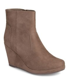 Taupe Bear Wedge Bootie