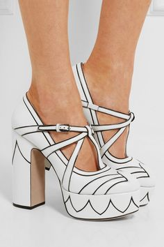 Heel measures approximately 135mm/ 5.5 inches with 35mm/ 1.5 inches platform White and black leather Buckle-fastening ankle strap Made in Italy As seen in The EDIT magazine