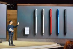 The Surface Pen comes in five different colors and will come with interchangeable pen tips for different styles of writing and drawing. It comes with 1,024 points of pressure and is magnetized so it can be stored right in the top of your Surface Pro 4. | The Verge