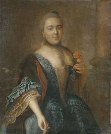 Elizaveta Romanovna Vorontsova, lived 1739–1792, a mistress of Emperor Peter III of Russia. During their affair, Peter was rumored to have intentions of divorcing his wife Catherine (the future empress) to marry Vorontsova. After Elizaveta's lover became Emperor in January 1762, he invested her with the Order of Saint Catherine and had rooms prepared for her in the newly built Winter Palace next to his own.