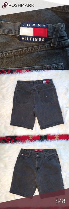 """Men's Vintage Tommy Hilfiger Black Denim Shorts 36 Thanks for stopping by! These men's shorts are a true vintage piece from the 90s! Size 36. Made in Mexico of USA fabric. 100% Cotton. Black/dark gray color.  📏MEASUREMENTS: Across: 17.5"""" ; Length: 21.5"""" ; Inseam: 11""""  ❌NO TRADES❌ Tommy Hilfiger Shorts Jean Shorts"""