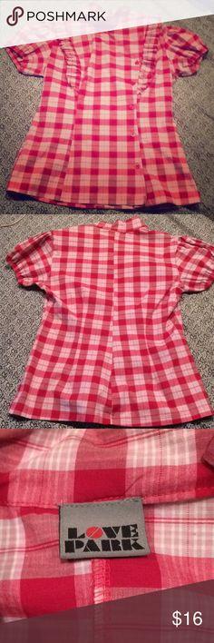 Red plaid ruffled button up top rare medium Never worn love park Tops Button Down Shirts